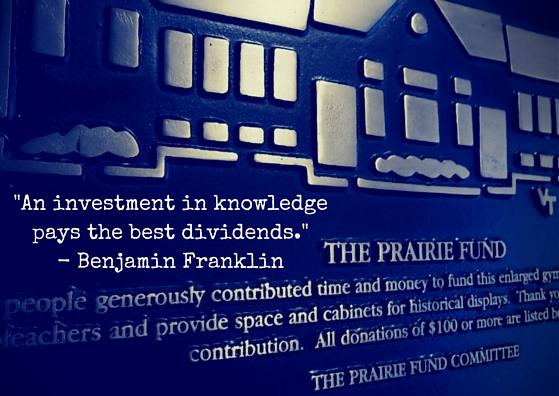 Prairie Fund plaque beside gymnasium